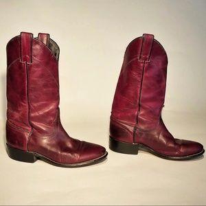 Laredo Burgundy Leather Cowgirl Boots Size 5.5